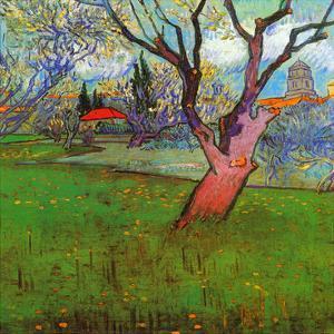 Vue d'Arles avec arbres en fleurs (Détail) by Vincent van Gogh