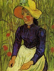Young Peasant Woman with Straw Hat Sitting in the Wheat by Vincent van Gogh