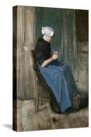 Young Scheveningen Woman Knitting, Facing Right, 1881