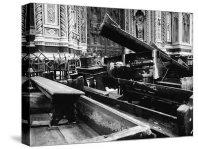 Half Destroyed Benches of the Cathedral after the Flood in Florence