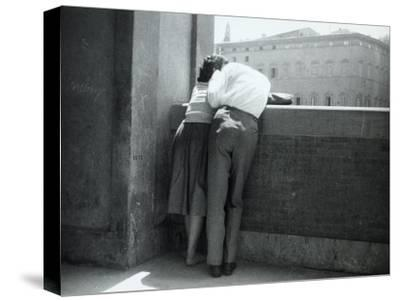 Love in Florence, Young Couple in an Affectionate Embrace on the Lungamo, Florence