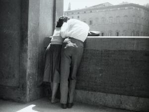 Love in Florence, Young Couple in an Affectionate Embrace on the Lungamo, Florence by Vincenzo Balocchi
