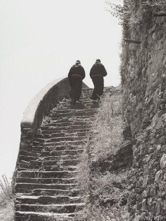 Monks Go Up a Stairway in Stone