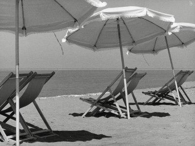 Sun Umbrellas and Lawn Chairs on a Beach