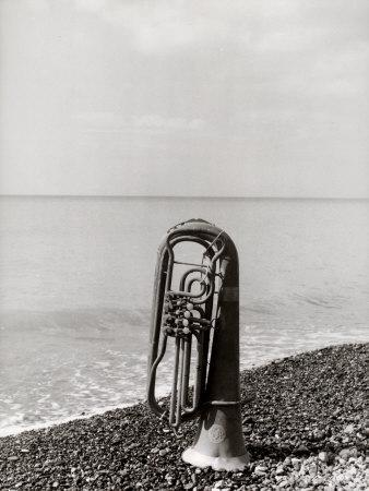 Trombone Resting on the Rocks at the Edge of the Sea