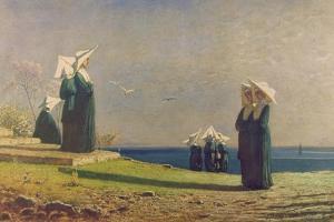 Little Nuns by the Sea (Monachine in Riva Al Mare) by Vincenzo Cabianca