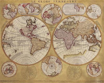 Antique Map, Globe Terrestre, 1690 by Vincenzo Coronelli