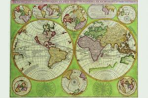 Stereographic World Map with Insets of Polar Projections by Vincenzo Coronelli