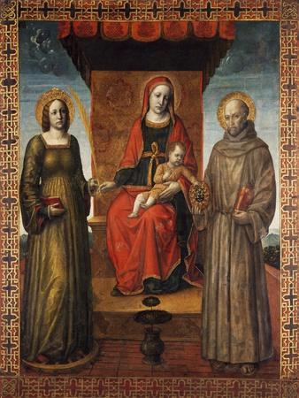 Enthroned Madonna and Child with Saints Bernardino and Catherine of Alexandria