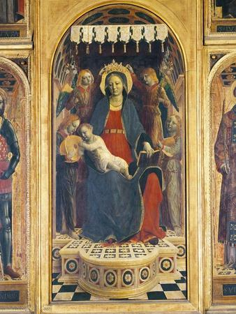 Enthroned Madonna with Child Between Angels with Musical Instruments