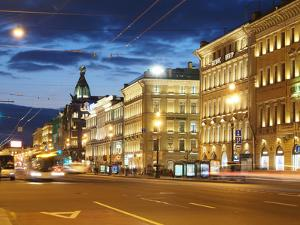 Nevsky Prospekt at Night, St. Petersurg, Russia, Europe by Vincenzo Lombardo