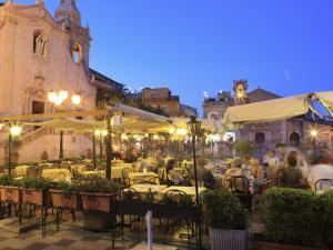 People in a Restaurant, Taormina, Sicily, Italy, Europe by Vincenzo Lombardo
