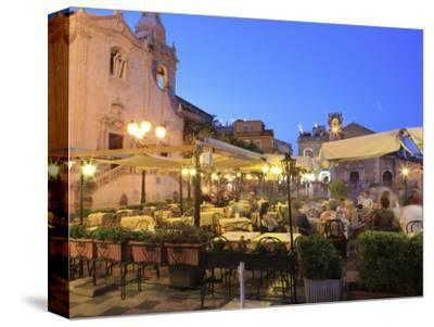 People in a Restaurant, Taormina, Sicily, Italy, Europe