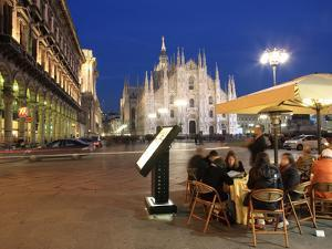 Restaurant in Piazza Duomo at Dusk, Milan, Lombardy, Italy, Europe by Vincenzo Lombardo