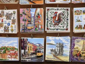 Souvenir Tiles in Shop Display, Lisbon, Portugal, Europe by Vincenzo Lombardo