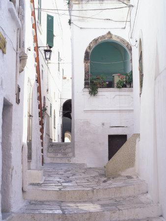 Typical Street, Ostuni, Puglia, Italy, Europe
