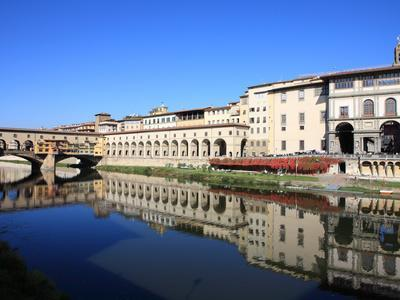 Uffizi Gallery Reflected in Arno River, Florence, UNESCO World Heritage Site, Tuscany, Italy