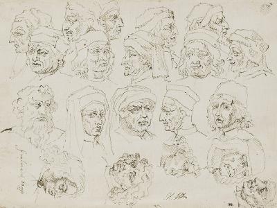 Vingt têtes d'artistes Italiens de la Renaissance-Nicolas Poussin-Giclee Print
