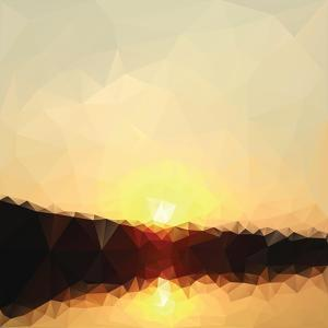 Sunrise Low Poly Effect Abstract Vector Background. by Vinko93