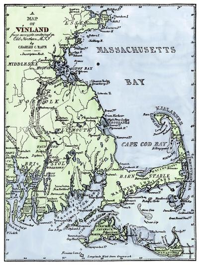Vinland Locations on Cape Cod, as Portrayed by Charles Rafn, from Accounts, Old Norse Manuscripts--Giclee Print