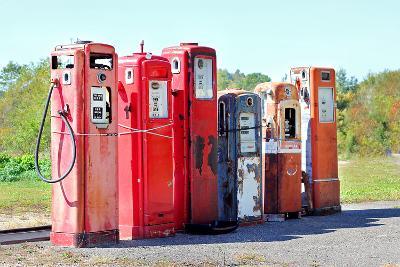 Vintage Abandoned Gas Tanks at Stations-Christin Lola-Photographic Print