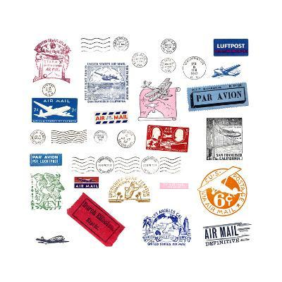 Vintage Airmail Labels And Stamps-cmfotoworks-Art Print