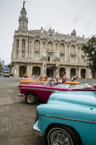 Vintage American Cars Parked Outside the Gran Teatro (Grand Theater), Havana, Cuba-Yadid Levy-Photographic Print