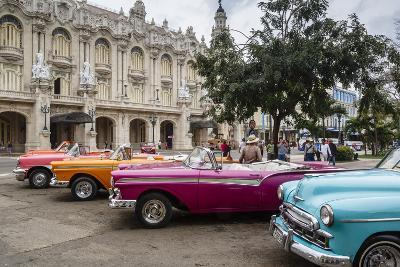 Vintage American Cars Parking Outside the Gran Teatro (Grand Theater), Havana, Cuba-Yadid Levy-Photographic Print