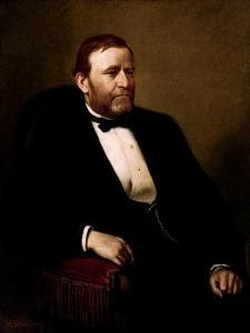 Vintage American History Painting of President Ulysses S. Grant