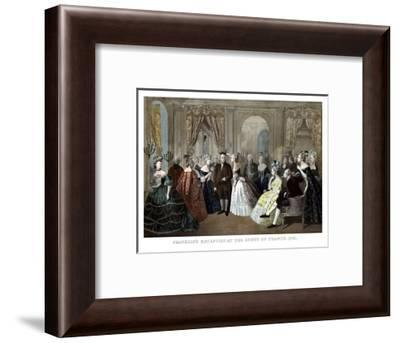 Vintage American History Print of Benjamin Franklin's Reception by the French Court-Stocktrek Images-Framed Photographic Print