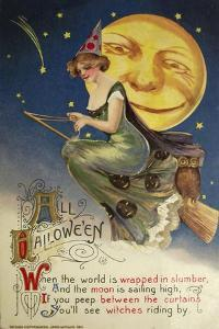Halloween Witch Greendress Moon by Vintage Apple Collection