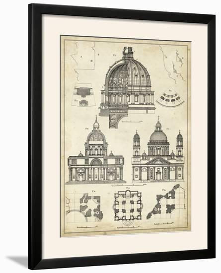 Vintage Architect's Plan II-Vision Studio-Framed Photographic Print