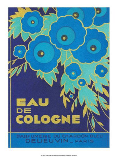 Vintage Art Deco Label Eau De Cologne Du Chardon Bleu Art Print By