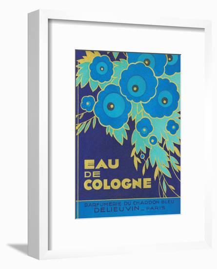Vintage Art Deco Label, Eau de Cologne du Chardon Bleu-null-Framed Art Print