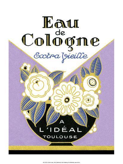 Vintage Art Deco Label, Eau de Cologne--Art Print
