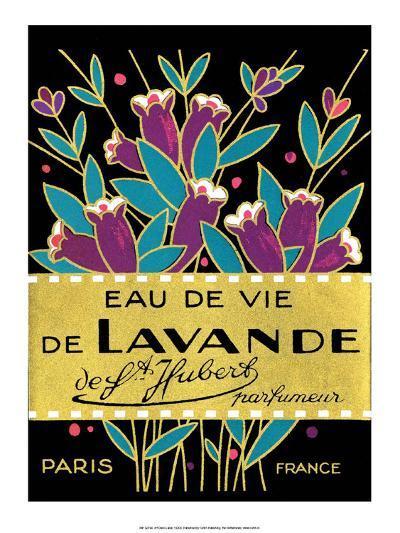 Vintage Art Deco Label, Eau de Vie de Lavande--Art Print