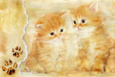 Vintage Background With Paper Border And Kittens Picture-Maugli-l-Art Print
