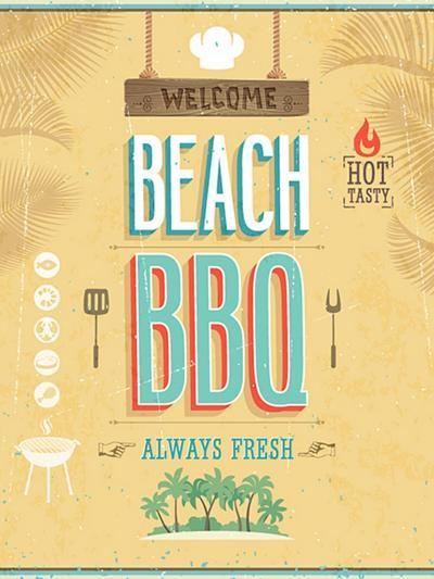 Vintage Beach Bbq Poster-avean-Art Print