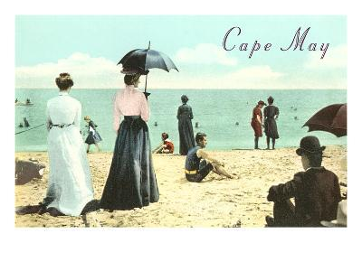 Vintage Beach Scene, Cape May, New Jersey--Art Print