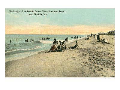 Vintage Beach Scene Near Norfolk, Virginia--Art Print