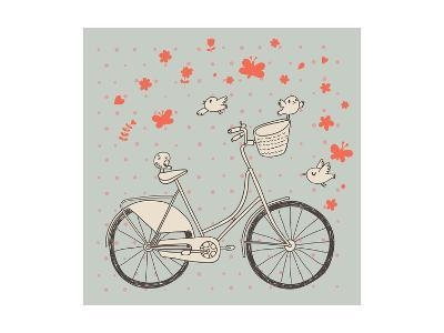 Vintage Bicycle in Vector. Retro Cartoon Card. Ecology Concept Background with Bike, Birds and Butt-smilewithjul-Art Print