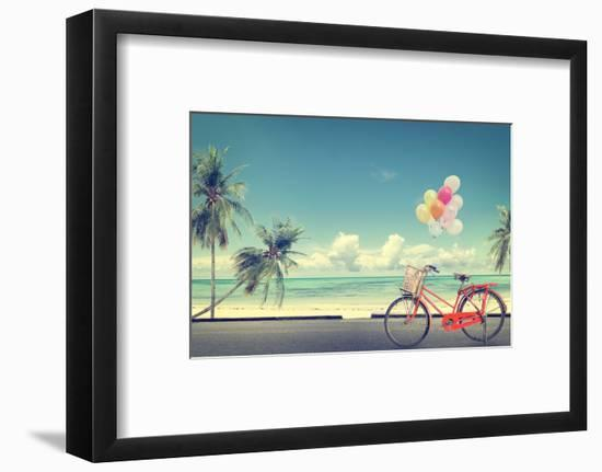 Vintage Bicycle with Balloon on Beach-jakkapan-Framed Photographic Print