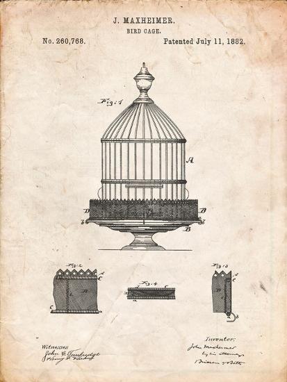 Vintage Birdcage Patent-Cole Borders-Art Print