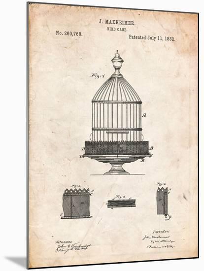Vintage Birdcage Patent-Cole Borders-Mounted Art Print