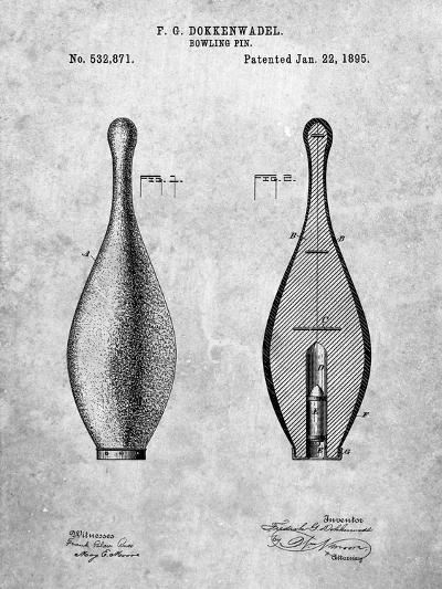 Vintage Bowling Pin Patent-Cole Borders-Art Print