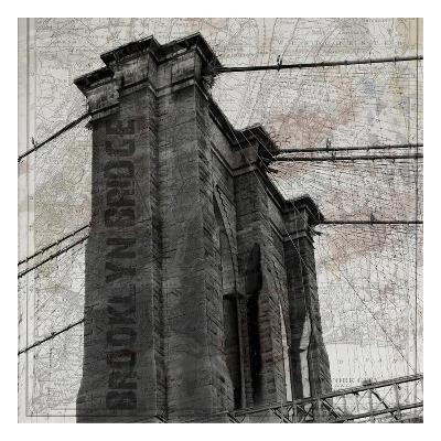 Vintage Brooklyn Bridge-Sheldon Lewis-Art Print
