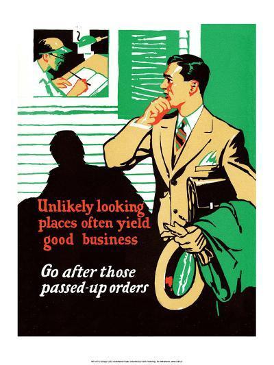 Vintage Business Unlikely looking places--Art Print