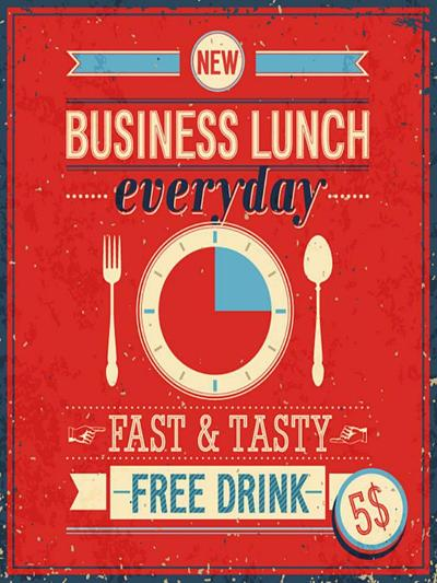 Vintage Bussiness Lunch Poster-avean-Art Print