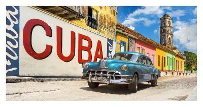 Vintage car and mural, Cuba-Pangea Images-Giclee Print