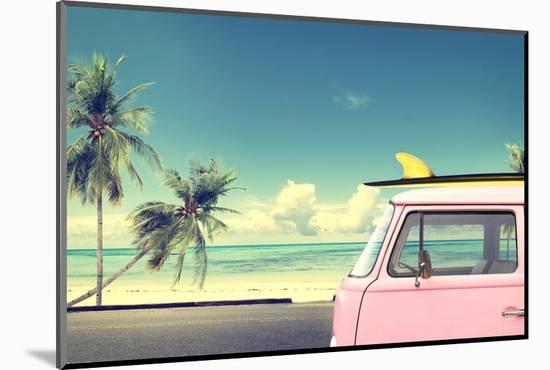 Vintage Car in the Beach with a Surfboard on the Roof-jakkapan-Mounted Photographic Print